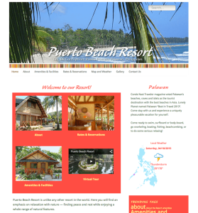 homepage of Puerto Beach Resort website, designed, built, powered by Lucky Cat Creative