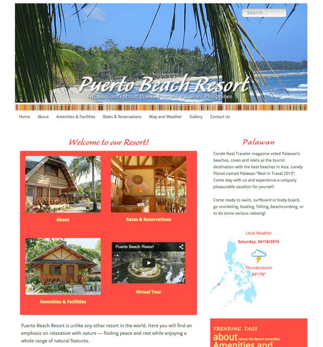 homepage of Puerto Beach Resort website, designed, built, powered by Lucky Cat Creative