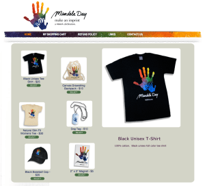 online product page of Mandela Day Store showing t-shirts and other products circa 2010
