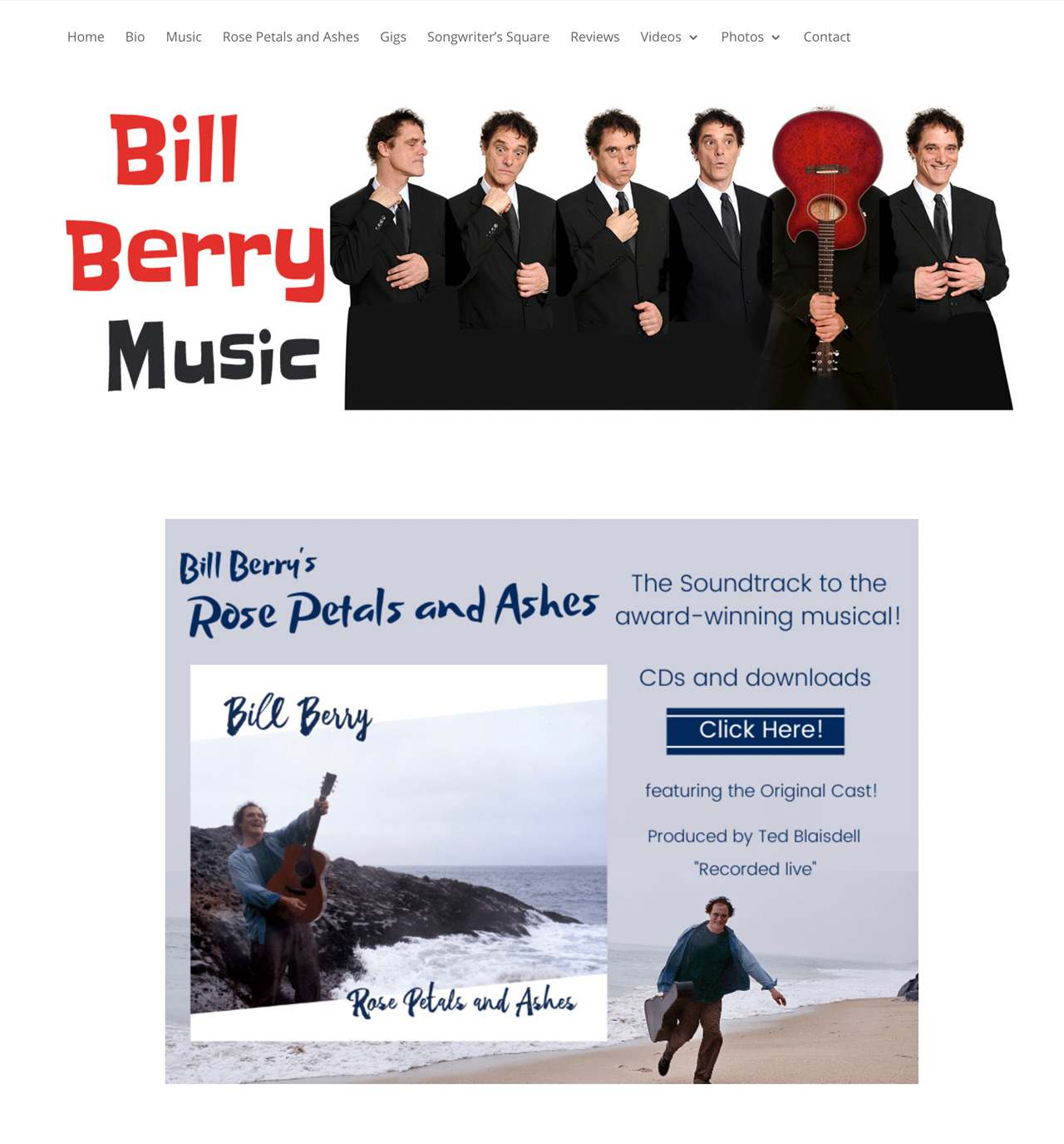 Six Bill Berrys lined up shoulder to shoulder, one holding guitar over face on homepage of Bill Berry Music website, plus Rose Petals and Ashes CD cover photo featuring Bill Berry solo seaside exuberantly brandishing acoustic guitar.