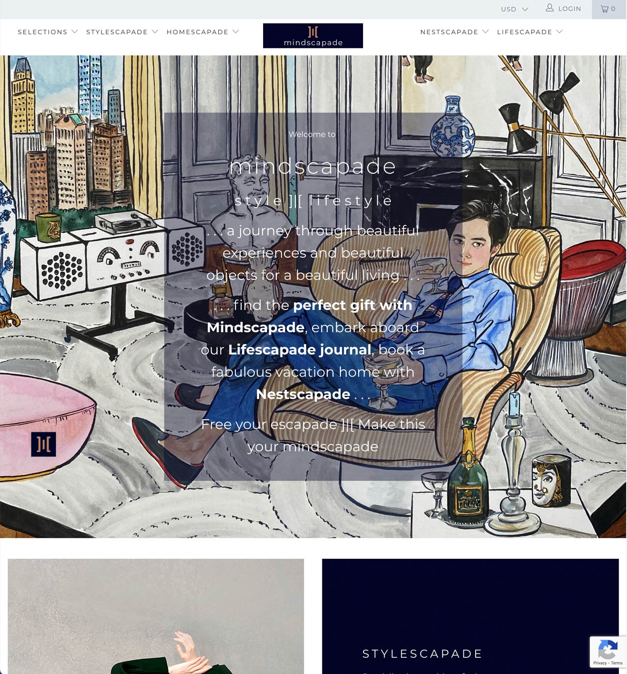 Illustration of elegantly clad man reclining on sofa surrounded by works of art, plus a view from high-rise of Manhattan's skyscraper skyline.