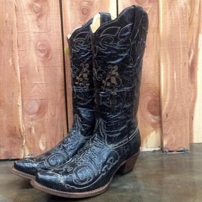 Corral Black Vintage Lizard Snip Toe Boot C1198