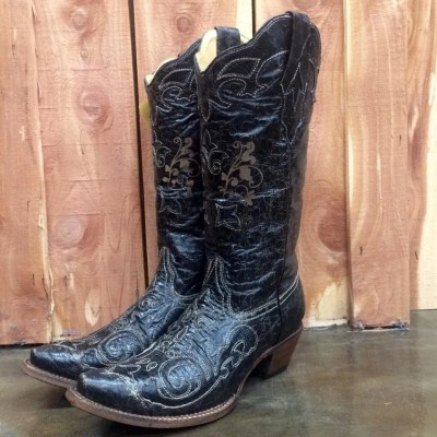 Corral Black Vintage Lizard Snip Toe Boot C1198