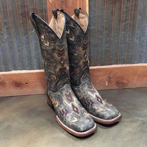 Women's Corral Black Bone Arrowhead Boot L5253