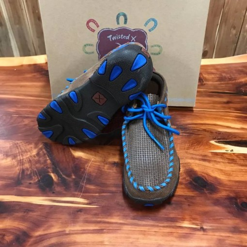 Kid's Twisted X Brown/Blue Driving Mocs YDM0027