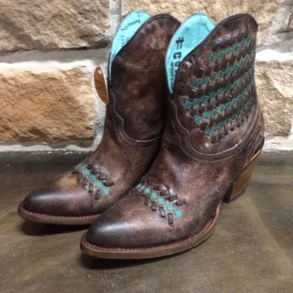 Ladies Corral Brown and Green Ankle Boots A3293