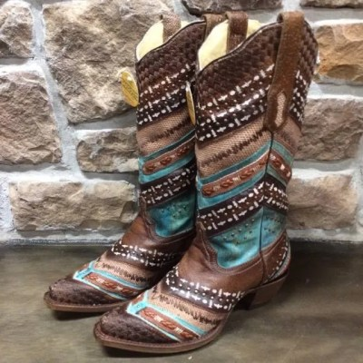 Corral Turquoise and Brown Embroidered Boot A3381