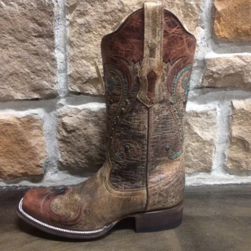 Women's Corral Distressed Brown Embroidered Square Toe Boot R1428