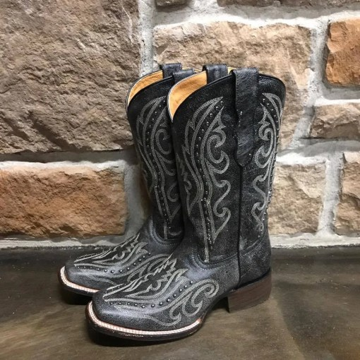 Girl's Corral Black Embroidered & Studded Square Toe Boot E1199