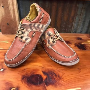 Women's Cinch Orange Cheetah Driving Mocs CCW3018