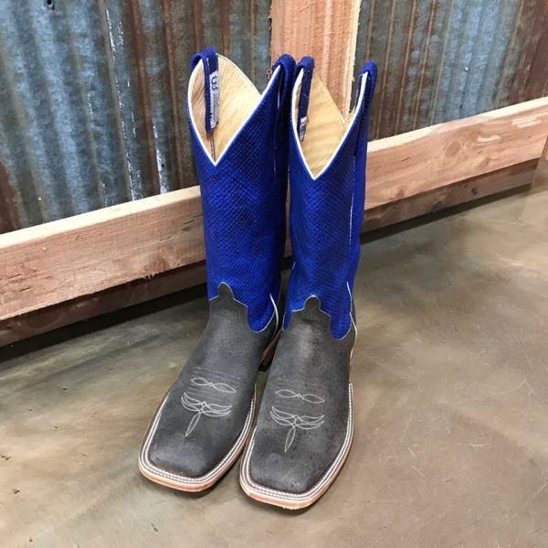 Anderson Bean Blue Chex Natural Boar Square Toe Boot 3063M/2629M