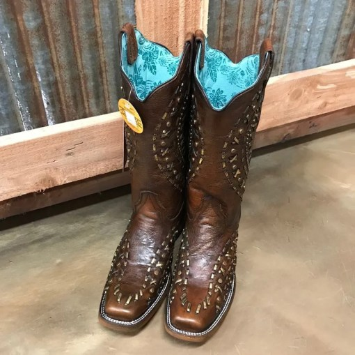 Corral Woven Brown & Studded Square Toe Boots E1289