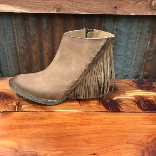 Ladies Circle G Distressed Side Fringe Bootie Q0035