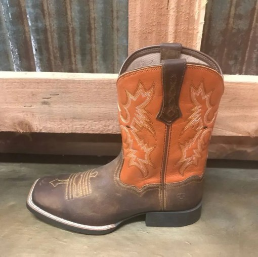 Kid's Ariat Orange Tombstone Square Toe Boot 10015390