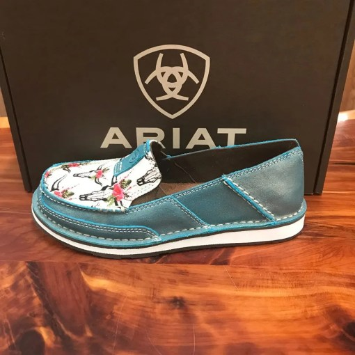 Women's Ariat Cruiser-Shimmer Turquoise with Skulls and Rose Canvas 10024767