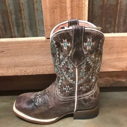 Girl's Roper Waxy Brown Aztec Square Toe Boot