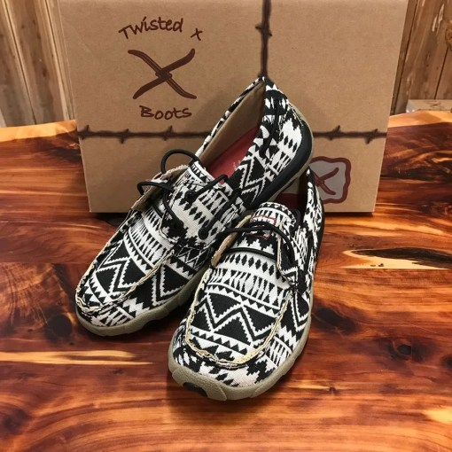 Women's Twisted X Driving Mocs Black/White WDM0112