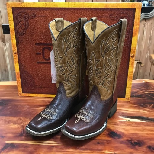 Corral Tyson Durfey Chocolate & Tan Square Toe Boots T0014