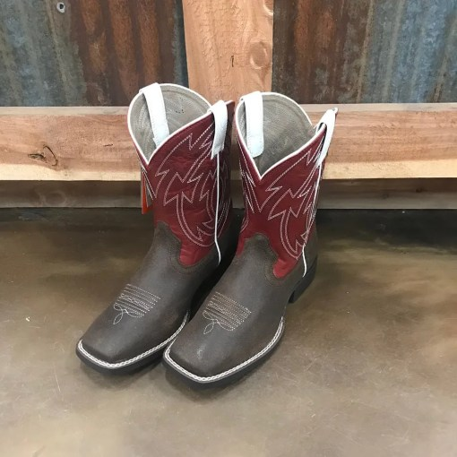 Ariat Youth Crossdraw Java & Chili Red Square Toe Boots 10027288