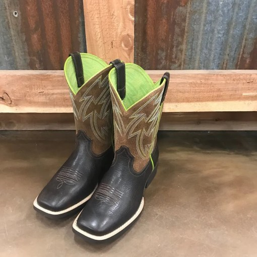 Ariat Youth Crossdraw Espresso & Lime Square Toe Boots 10027292