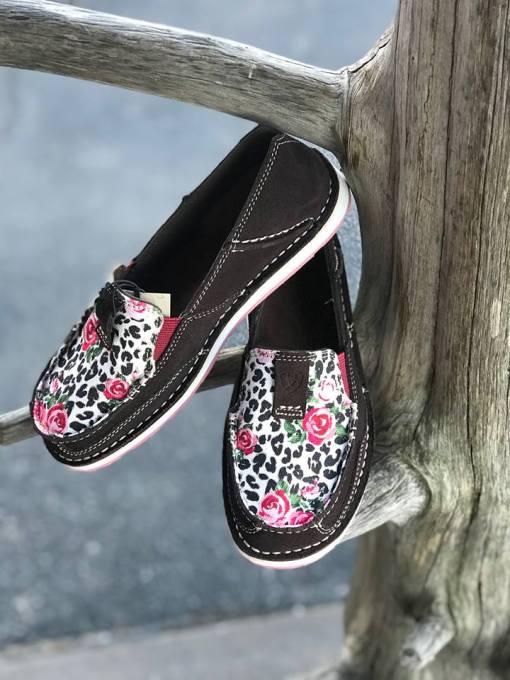 Ariat Women's Suede Leopard Rose Cruisers 10027379
