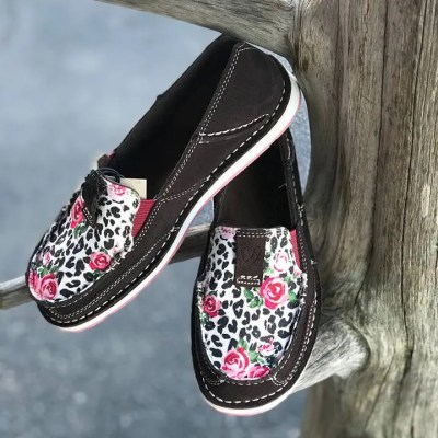 Ariat Women's Suede Leopard Rose Cruisers 10027379