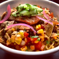 Ramen noodles, white fish, corn chips, pickled red onions and more make this fiesta!