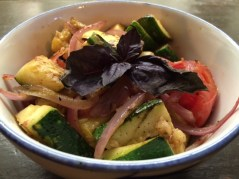Calabaza: sautéed grilled yellow & green zucchini, tomato, onion, ginger and garlic
