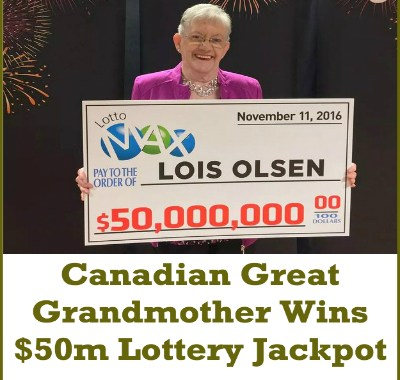 Canadian Great Grandmother Wins $50m Lottery Jackpot