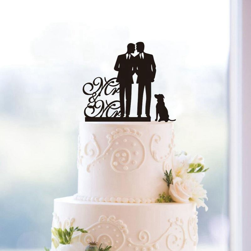 Same Sex Gay Mr   Mr Dog Wedding Anniverary Cake Topper  black  H7n9         Picture 2 of 3