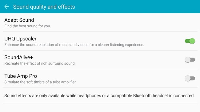 UHQ Audio di Galaxy Note5 dengan UHQ upscaling