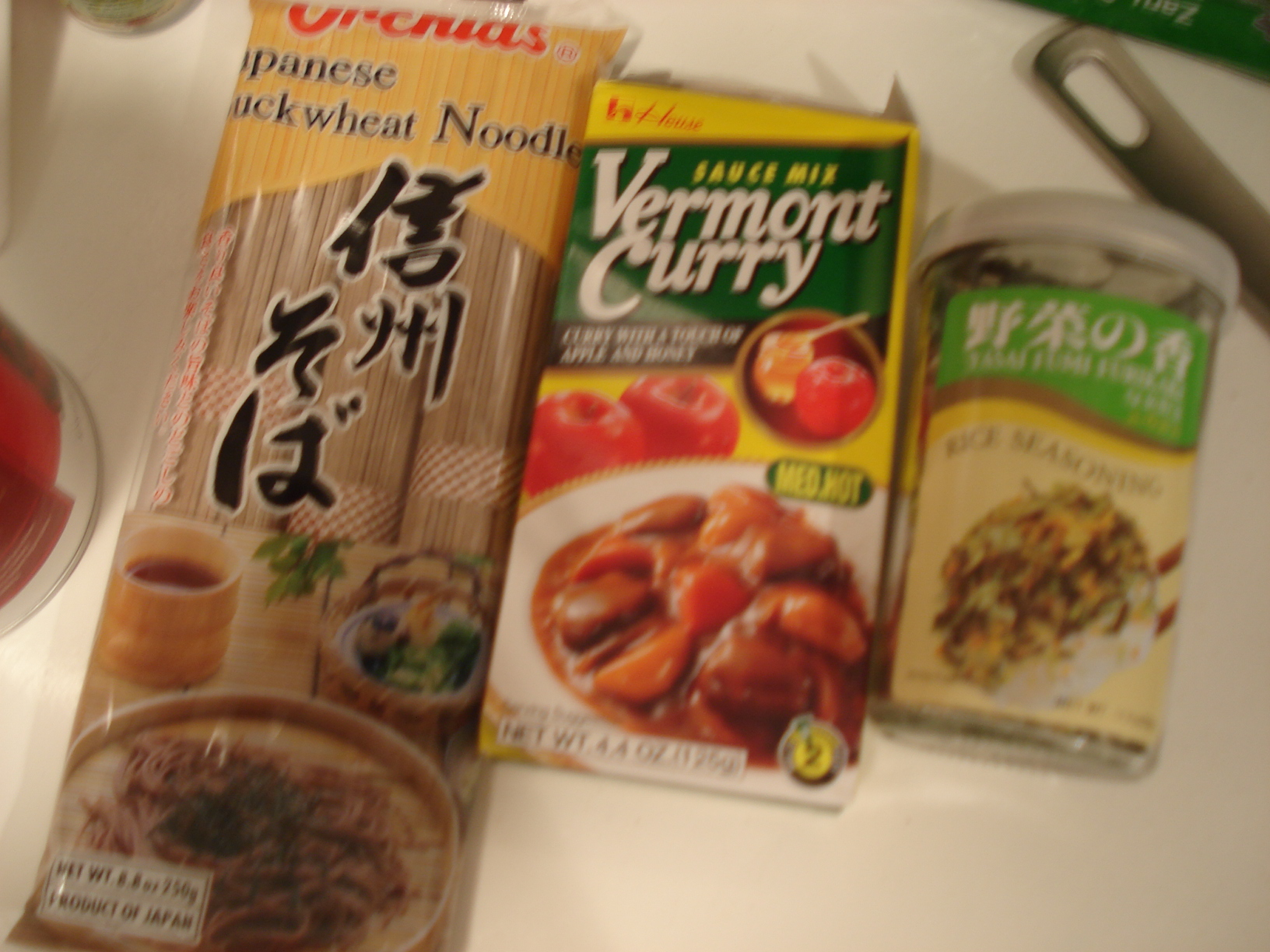 Soba, curry, and furikake