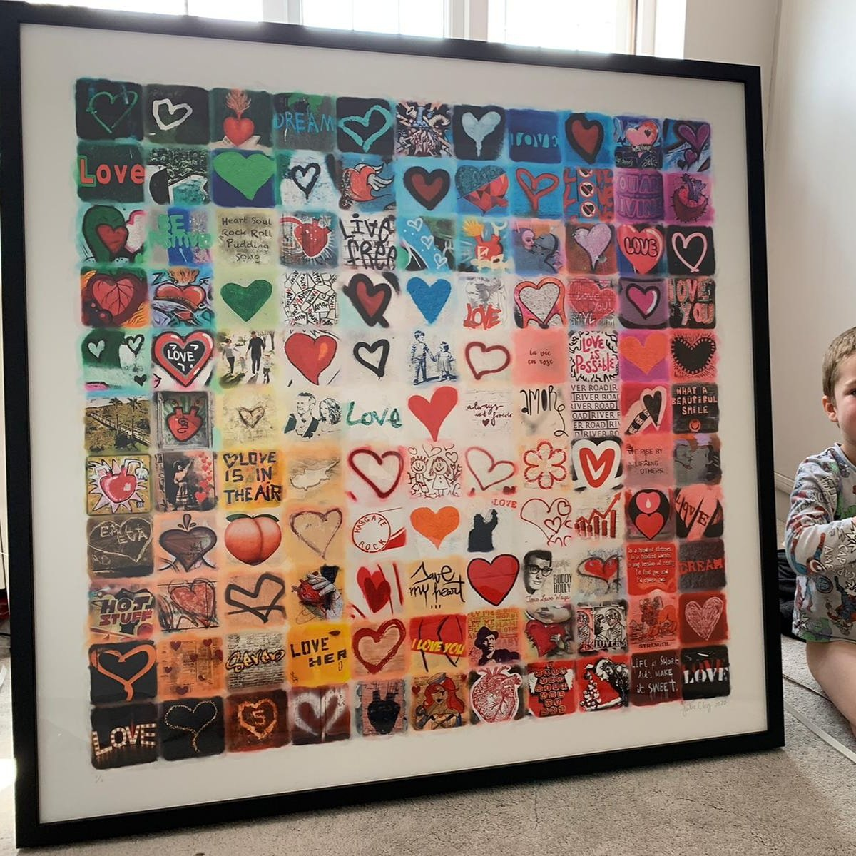 This commissioned photo montage includes 18 personalised squares.