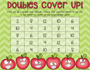 Doubles Cover Up Math Game Freebie Lucky to Be in First