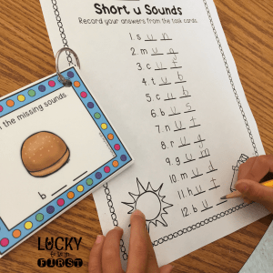 Short Vowel Task Cards by Lucky to Be in First