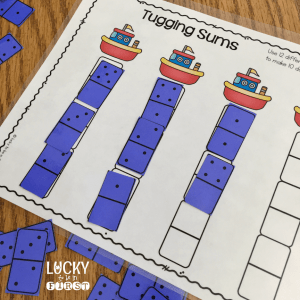"Mystery Math Dominoes are a great way to get kids ""playing"" with toys...and working on essential math skills!"