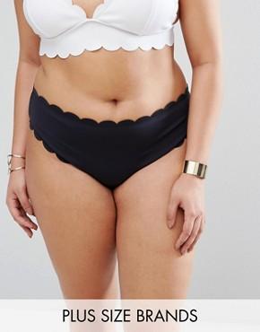 Mismatch Scallop Trim Bikini Bottom