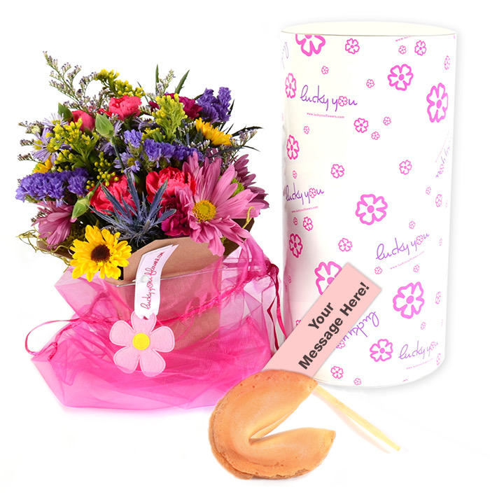 Our Unique Lucky You Flower Arrangements come in an adorable take out box with your personal message tucked inside a fortune cookie!
