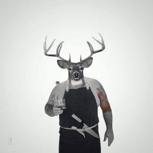 Chef chevreuil trinque / Luc Pallegoix, 2016. Encre pigmentaire sur papier Moab blanc 300 gr. Disponible en grand format | 50 x 50 cm 5 ex.| ou moyen format | 23 x 23 cm 10 ex. | Trois autres numéros sont réservés pour des très grands formats.