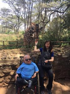 Feeding the giraffes in Nairobi, Kenya