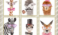 Watercolor Animal Prints Funny Animal Prints Nursery Wall Art Nursery Decor Kids Printable Cute Animals Hipster Print Animal Art Set Of