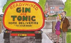 Funny Humour Greeting Card Home Delivery Gin Tonic