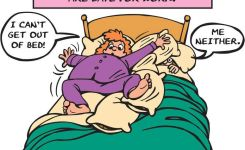 Funny Cartoon With Pregnant Mom Having Problems Getting Out Of Bed