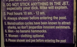 Clothess And Funny Pool Rules  You Have In The Pool