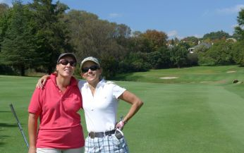 Lucy & Alison enjoying the golf.