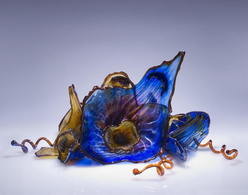 Sapphire Flower Glass Art