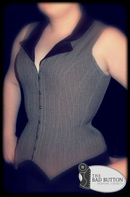The Bad Button overbust waistcoat corset with integrated straps and collar