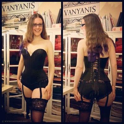 Asymmetric overbust corset by Vanyanis. Model: Erika