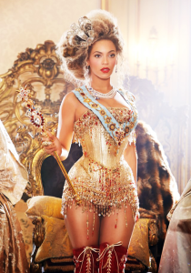 Beyoncé Knowles in a Thierry Mugler gold corset dress