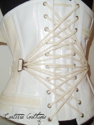 Fan-laced medical-inspired corset by Contessa Gothique Design in Croatia